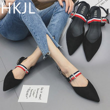 HKJL summer 2019 new shaggy sandals - women's suede sandals - chunky heels with a pointed low heel and a belt buckle A158 vintage women s sandals with solid color and chunky heel design