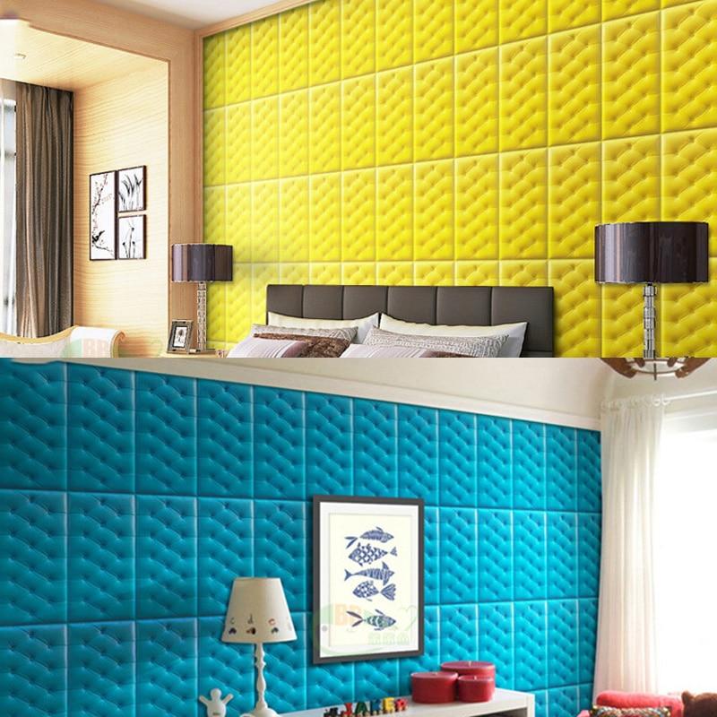 Papel pintado autoadhesivo impermeable de espuma de PE de cuero de imitación 4 Uds para sala de estar dormitorio niños habitación infantil decoración para el hogar papel de pared en 3D - 2