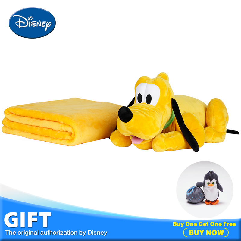 Disney Pluto Plush Stuffed Doll Juguete Toy Peluches Soft Back Pillow Cushion Multifunctional Rest Blanket+Pillow Children Gift disney master car children plush toy peluches stuffed doll with rest blanket kids pillow cushion toys christmas birthday gifts