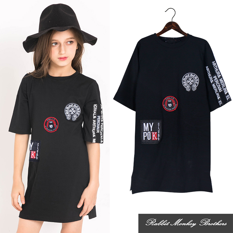 Black white 2 color Older children Medium length dress Round neck short sleeves long T-shirt Sheath dress for girls 5-15 years кеды flyfor flyfor fl009awbaqp8