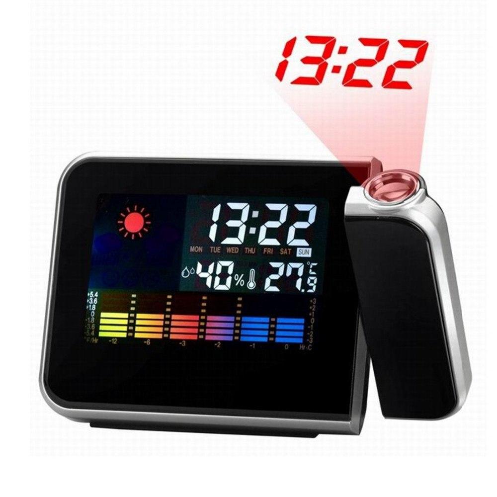 Projection Alarm Clock Calendar Digital Weather Forecast LCD screen Snooze Alarm Clock Projector Color Display LED Backlight