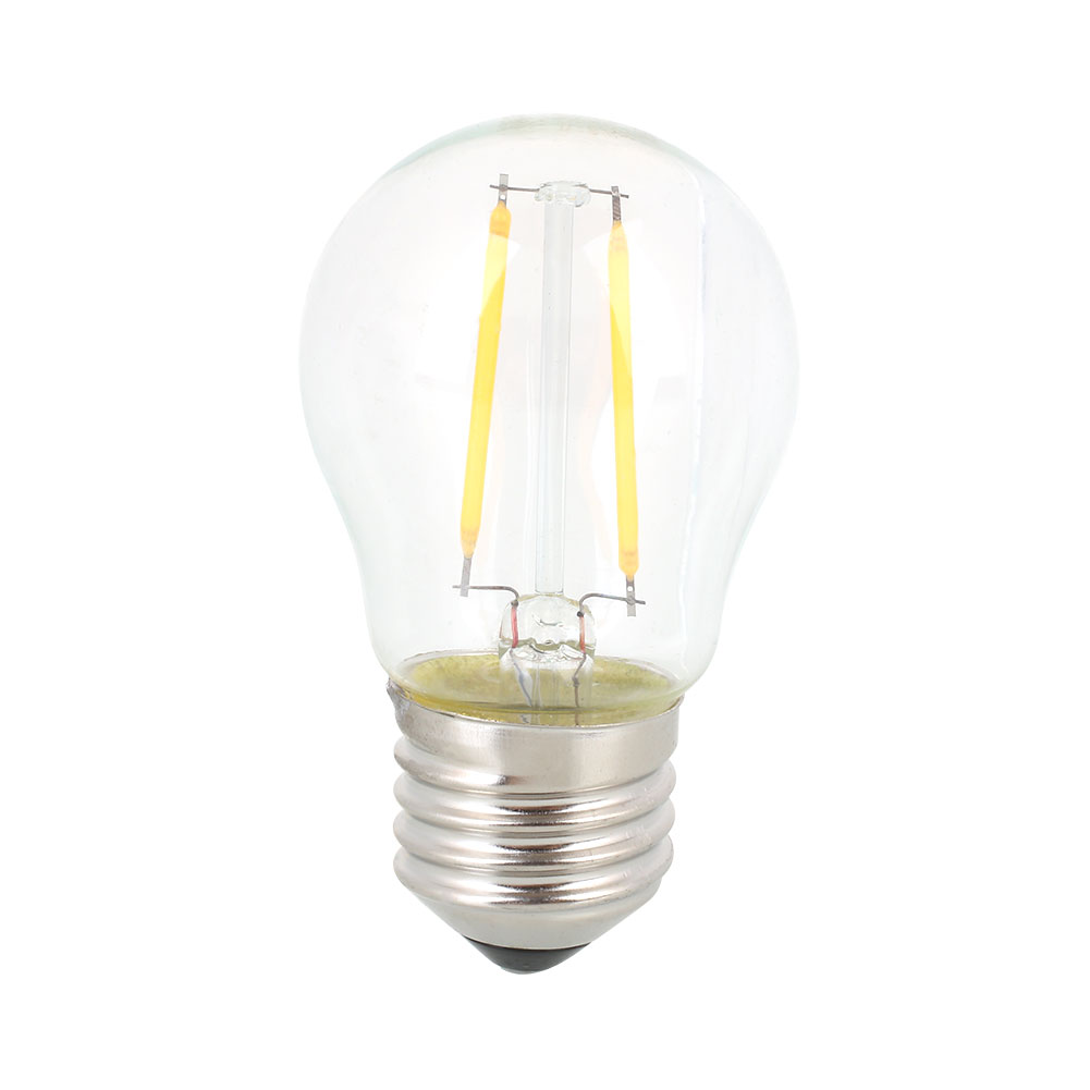 E27 G45 2W LED Bright Filament Glass Light Bulb Transparent Lamp AC220-240V