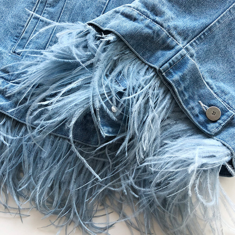 [EAM] 2019 New Autumn Winter Lapel Long Sleeve Blue Feather Split Joint Loose Denim Big Size Jacket Women Coat Fashion JW832