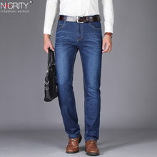 NIGRITY Man jeans 2019 New Fashion business Casual Denim Pants Men Straight cut slight stretch trousers large size 29-42 4 color(China)