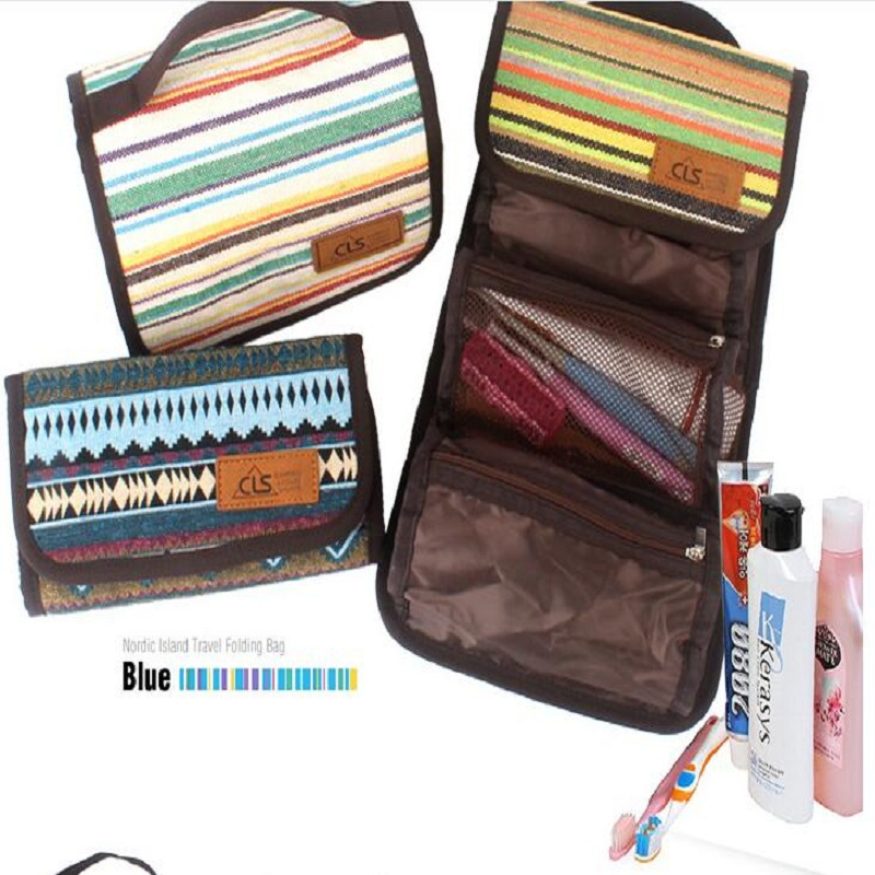 Image 2 - Outdoor camping portable wash bag travel cosmetic bag folk style finishing bag storage bag hanging bag fashion handbags-in Storage Bags from Home & Garden