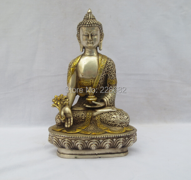 Antique antiques Collectible Decorated Old Handwork Tibet Silver Carved Gold gilt Buddha Statue/Buddhist sculpture Free ShippingAntique antiques Collectible Decorated Old Handwork Tibet Silver Carved Gold gilt Buddha Statue/Buddhist sculpture Free Shipping