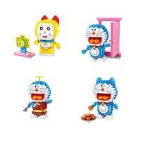 4 pz/lotto loz regali di natale doraemon & dorami 3d nano mini building blocks diy classico assemblati giocattoli educativi per bambini
