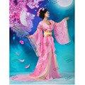 Encantador atractivo estético hanfu traje clásico traje rosa falda de las mujeres la ropa dinastía Tang Chino antiguo traje de la danza