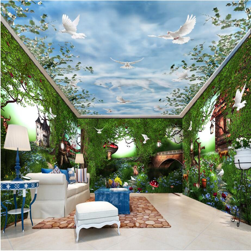 Beibehang fairy tale forest rural pastoral custom 3d for Fairy forest mural