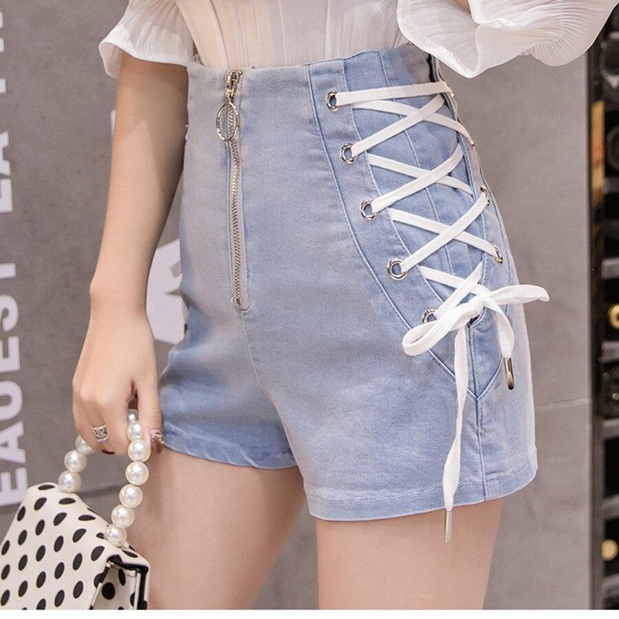 MUMUZI Denim Shorts Bandage Female High-Waist Summer Fashion Casual New Autumn Zipper