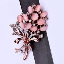 Модная брошь в виде цветка из опалового камня, красивые стразы, аксессуары для одежды, Женский корсаж, подарки на день рождения