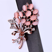 цена на Best Selling Fashionable Opal Stone Flower Brooch Pin Beautiful Rhinestone Clothes Accessories Women 's Corsage Birthday Gifts