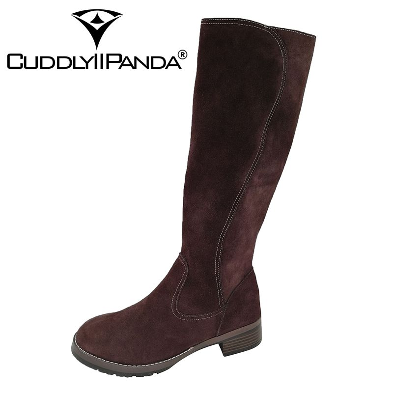 CUDDLYIIPANDA Women Fashion Handmade Martin Boots Women Winter Fashion Fur Boots Mid Calf Boots Genuine Leather Fashion Boots double buckle cross straps mid calf boots