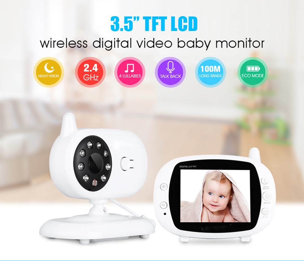 2019 3.5'' Digital Wireless Baby Monitor LCD Display Video Security Camera Temperature 2 Way Talk Night Vision Baby Nanny Camera(China)