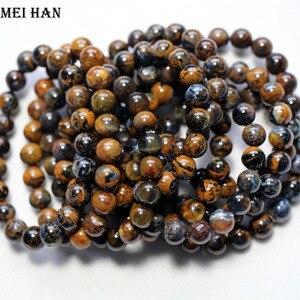 Image 3 - Großhandel (ca. 21 perlen/set/19g) 8,5 9mm A + + natürliche Namibia Pieter glatte runde perlen stein für frauen männer armband