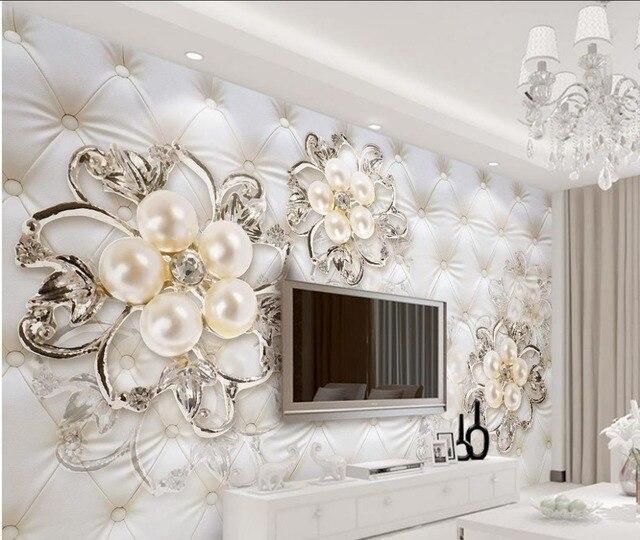 US $20.4 49% OFF|Individuelle fototapeten 3d schönen Europäischen stil  perle blumen tapeten für wohnzimmer Dekoration in Individuelle fototapeten  ...