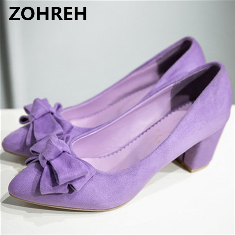 ZOHREH Spring 2018 bow pointed toe single shoes woman scrub velvet low-heeled shallow mouth sweet pumps small yards:33 34 35-43 2018 spring summer low heel sandals pointed toe shallow mouth women shoes woman cozy casual shoes leisure single ladies shoes cy