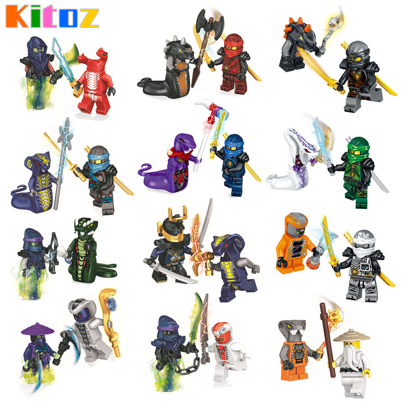 Kitoz 24pcs Ninjago Figure Ghost Evil Ninja Pythor Chop'rai Mezmo Serpentine Army Building Block Toy Compatible with lego