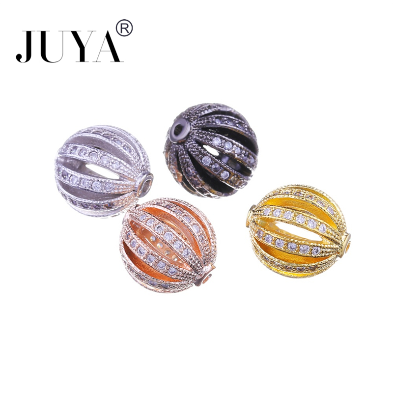 5pcs / 10 pcs Gold Silver Rose Gold Black 10mm Hollow Round Watermelon Ball Beads For Jewelry Making DIY Jewellery Accessories