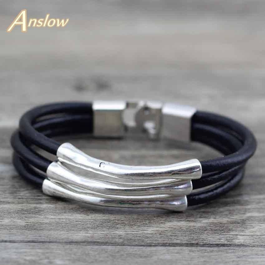 91962b8bbc91 Anslow descuento nuevo Unisex multicapa de alambre de joyería de moda pulsera  de cuero para los hombres y las mujeres Bijoux encanto regalo LOW0570LB