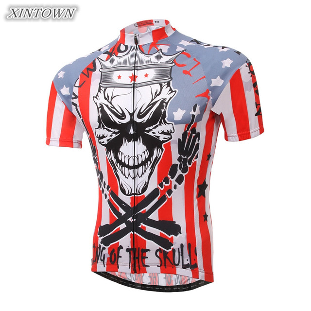 XINTOWN Men Bike Cycling Jersey Skull Wong Bicycle Cycling Clothing Tops  Summer Riding Shirts cc9ca209f