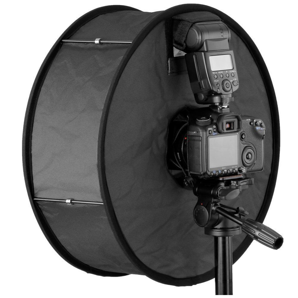 Round Universal Collapsible Magnetic Ring Flash Diffuser Soft Box 45cm/18 inch for Macro and Portrait Photography
