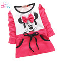 2016 Autumn girls dress  girls Minnie Mouse New Kids bottoming shirt long sleeve t-shirt 2-5years rose red
