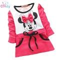 2016 Otoño vestido de las muchachas de Minnie Mouse Nuevos Niños que basa la camisa de manga larga t-shirt 2-5years rojo de la rosa