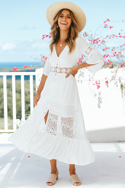 Beach Dress Summer Sundresses Plus Size Lace White Boho Dresses For ...