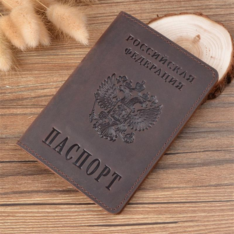 Nova capa de passaporte de couro genuíno para a rússia sólida id & titular do cartão de crédito caso de passaporte de negócios unisex caso carteira de viagem