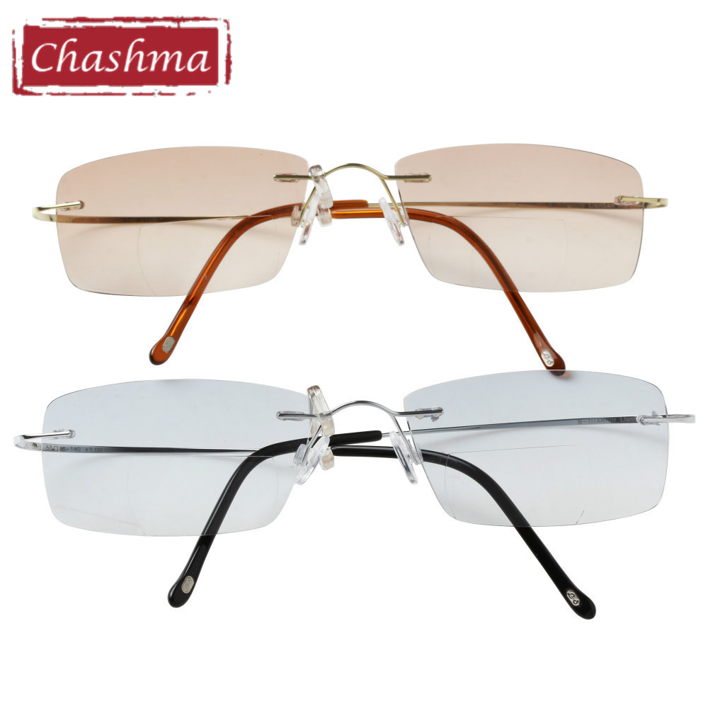 Image 1 - Chashma Brand Quality Frames Women and Men Rimless Frame Titanium Eyeglasses Tint Colored Bifocal Reading Glasses Sunglasses-in Women's Reading Glasses from Apparel Accessories on AliExpress