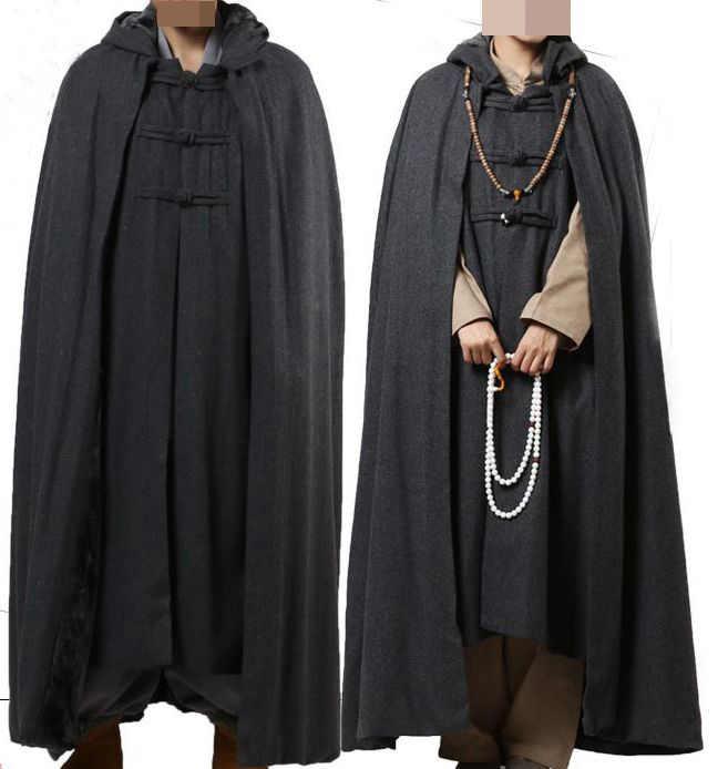 4 цвета унисекс новейший красный/серый/коричневый шерстяной твид дзен зимняя теплая накидка буддизм монахи robeмедитация плащ светское пальто