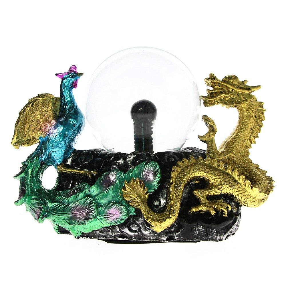 Or Dragon Phoenix Base Plasma Balle Électrostatique Induction Dragon Phoenix Sculpture de Bon Augure Ornements Décoratifs Artisanat Cadeau