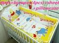 Продвижение! 6 шт. винни детская кроватка комплект кроватки бампер дизайн детские постельных принадлежностей для мальчиков, Включают ( бамперы + лист + )