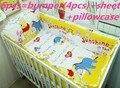 Promoción! 6 unids Winnie cuna Set tope del pesebre del bebé del diseño juego de cama para niños, incluyen ( bumpers + hojas + almohada cubre )