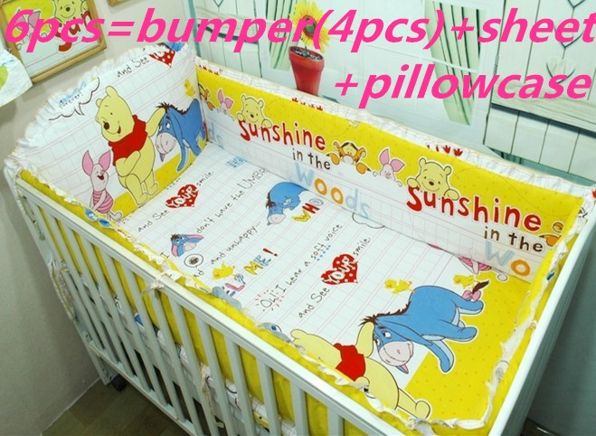 ФОТО Promotion! 6pcs Winnie Baby Cot Set Crib Bumper Design Baby Bedding Set for Boys ,include (bumpers+sheet+pillow cover)