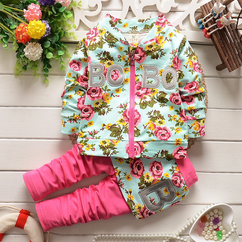 ФОТО autumn floral clothing sets children girls pantskirt hooded coat, baby girl set kids sport suit spring clothes for girls