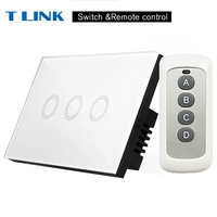 TLINK US Standard 110 220V 3 Gang 1way Remote Control Touch Switches Waterproof Panel Light Switch