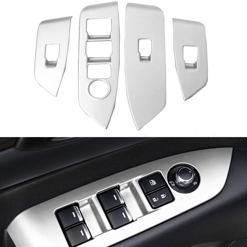 4pcs ABS Matte Interior Inner Door Window Lift Button Switch Panel Cover Trim For Mazda CX5 CX 5 CX-5 2017 2018 dnhfc interior door handle switch decorates sequins lhd for mazda cx 5 cx5 kf 2nd generation 2017 2018 car styling