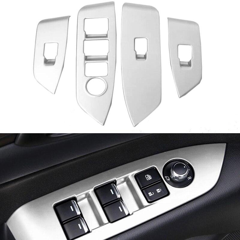 4pcs ABS Matte font b Interior b font Inner Door Window Lift Button Switch Panel Cover