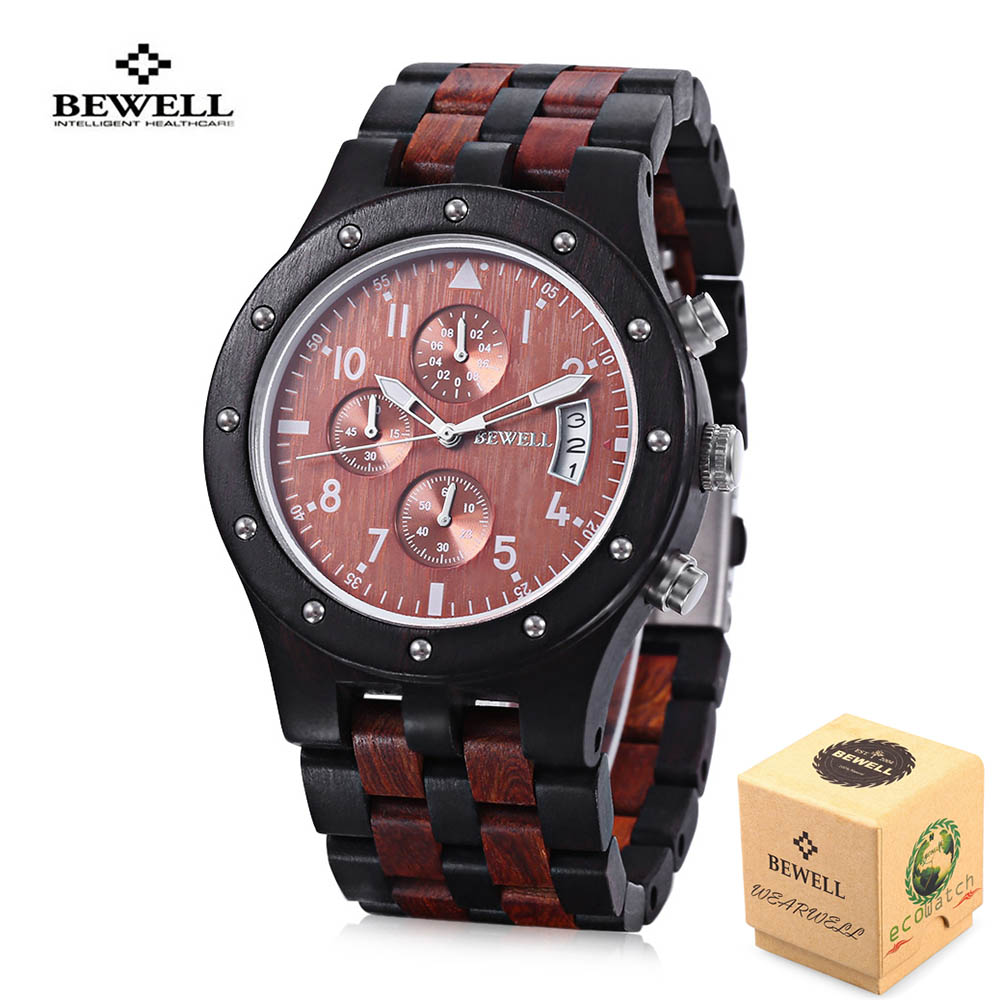 2018 BEWELL Wood Watch Men Wooden Vintage Mens Watches mens Watches Top Brand Luxury Quartz Watches Relogio Masculino bewell wood watch men wooden fashion vintage men watches top brand luxury quartz watch relogio masculino with paper box 127a