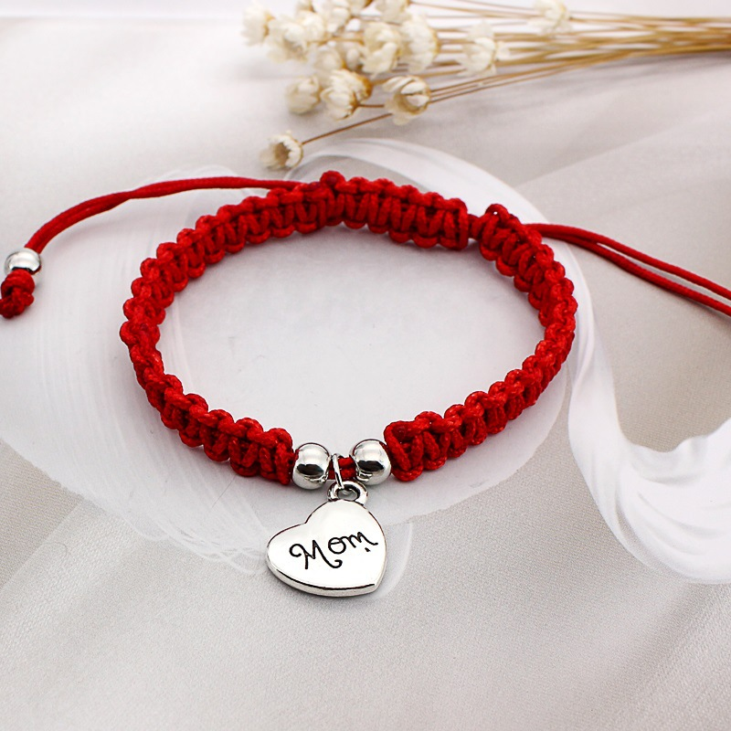 2017 Fashion Thin Red Cord Thread String Rope Chain with Alloy Heart Silver color Bracelet for Female Mother Gift Jewelry