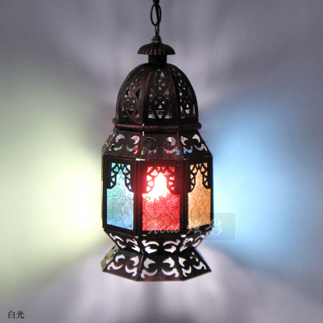 Amerikanischen Spanisch Mittelmeer Lobby Bar Disco Gang Lampen Marokko  Retro Hohlen Eisen Kronleuchter