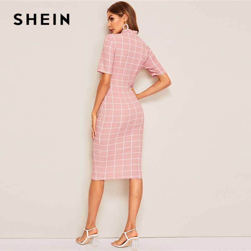 Шеин макет шеи сетки текстурированные карандаш платье элегантный женский розовый на молнии стоячий воротник 2019 летнее платье с коротким рукавом облегающее платье