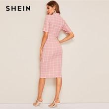 SHEIN Rosa romántico, bordado de malla de una línea de vestido de fiesta de mujer, vestido de verano de cintura alta cuello redondo encaje vestido
