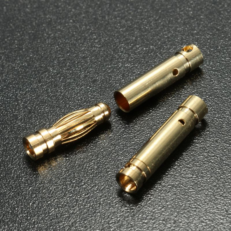 10 Pair 3.5mm Gold Plated Copper Banana Plug Connector Male Female Socket Adapter For RC Car Truck Drone Battery 3 5mm male to female gold plated copper adapter silvery white golden