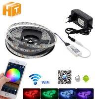 WiFi Controle RGB LED Strip 5050 Set Woondecoratie Neon Licht met Mini WiFi RGB Controller + 12 V Power Adapter