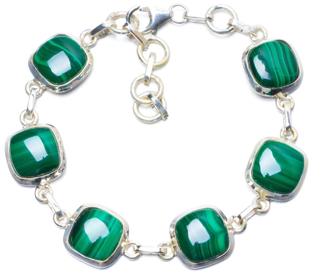 Natural Malachite Handmade Unique 925 Sterling Silver Bracelet 6 3/4-7 3/4 Y0842 цена