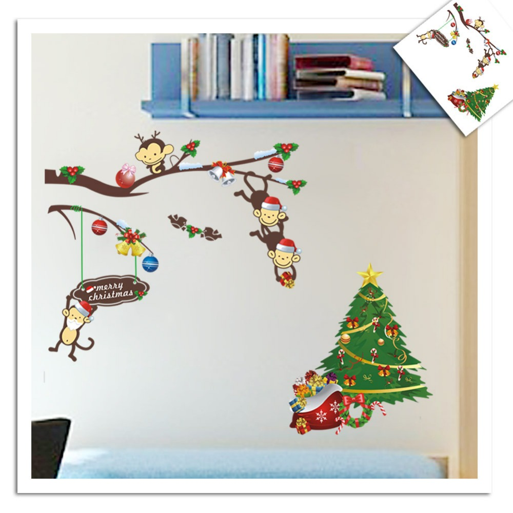 online get cheap small tree wall decal aliexpress com alibaba group large small 3d diy christmas tree naughty monkey christmas gifts pvc wall decals wall stickers mural