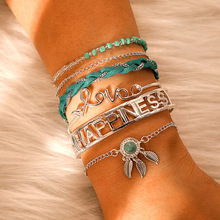 Ubuhle New Hollow Letters Bracelet Personality LOVE Words Link Blue Beads Bangle Men Women Jewelry Lover Birthday Gifts